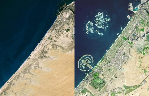 """Satellitenaufnahmen von Dubai von 1985 und 2013 - zum Earth Day die künstlichen Inseln von """"The Palm"""" und """"The World"""". Trotz (oder wegen) intensiver Begrünung alles andere als eine """"Green City""""."""